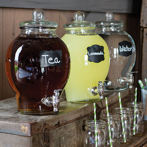 Glass Beverage Drink Dispenser! Serve your drinks in style  Add labe;s