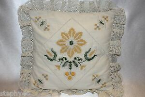 """Cross Stitch Candlewick Embroidered Floral Lace Edge Pillow 11.5"""" x 11.5"""""""