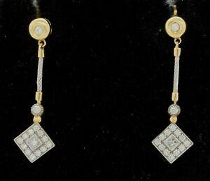Phillipe-Charriol-18K-gold-amp-SS-71CTW-VS-G-diamond-cluster-drop-dangle-earrings
