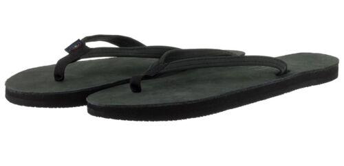 Women/'s RAINBOW Premier Leather Narrow Strap BLACK Flip Flops MEDIUM 6.5-7.5