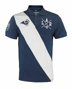 a9afea48 Details about KLEW NFL Football Men's Los Angeles Rams Rugby Diagonal  Stripe Polo Shirt