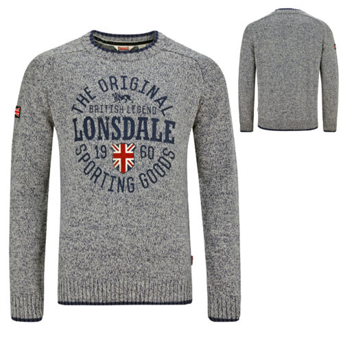 LONSDALE Borden Grey Blue Knitted Sweater Pullover Jumper Union Jack Felpa