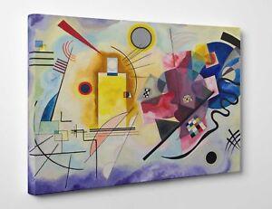 Quadro-Kandinsky-Giallo-Rosso-Blu-Stampa-Fine-Art-su-Tela-Vernice-Pennellate