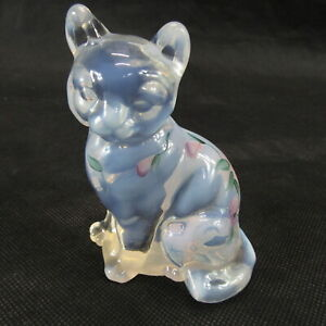 vintage-Fenton-art-Glass-Opalescent-clear-Cat-Hand-Painted-Flowers-signed