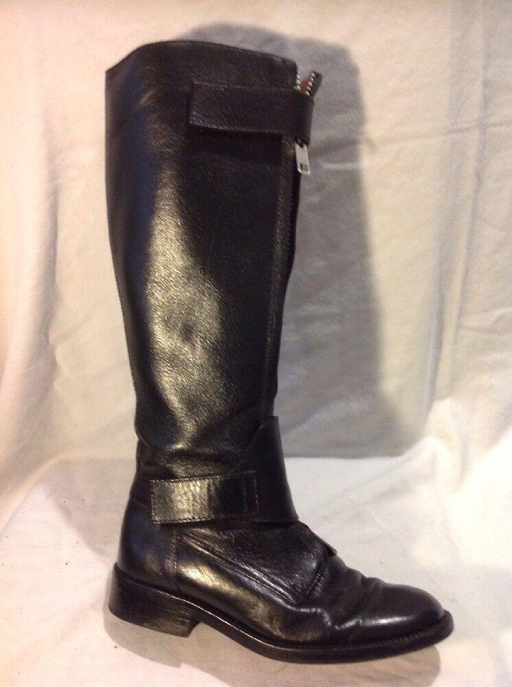 Hobbs Negro Knee High Cuero botas
