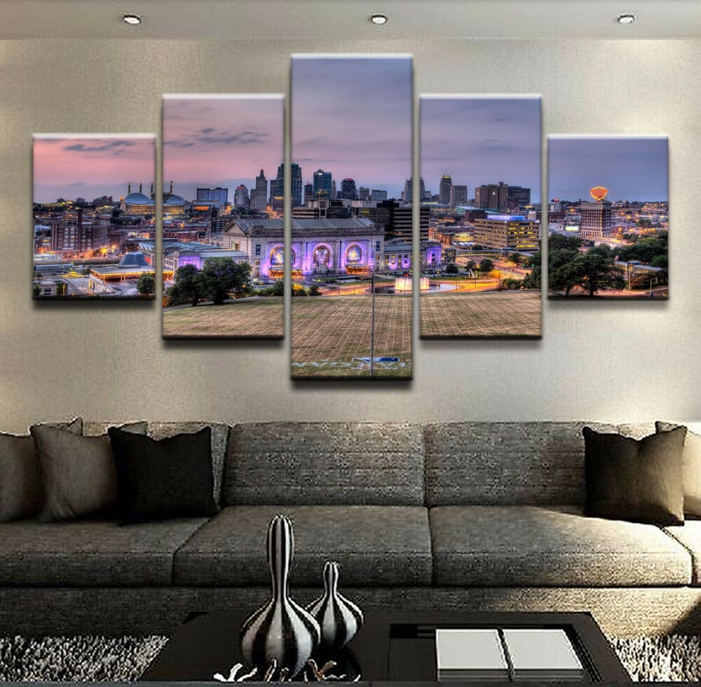 Kansas City Skyline Landscape Poster 5 Panel Canvas Print Wall Art Home Decor