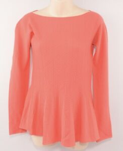 EMPORIO-ARMANI-Women-039-s-Perforated-Stretch-Knit-Top-Coral-UK-8-IT-40