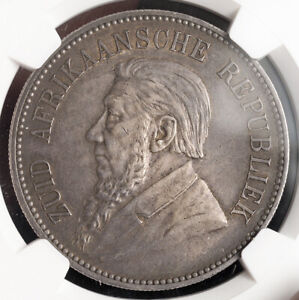 1892, South African Republic (ZAR). Large Silver 5 Shillings Coin. NGC AU-53!