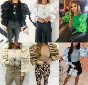 Damen-Feinripp-Baumwolle-Rueschen-Puff-Sleeve-Pullover-Pulli-Bluse-Top-NEU