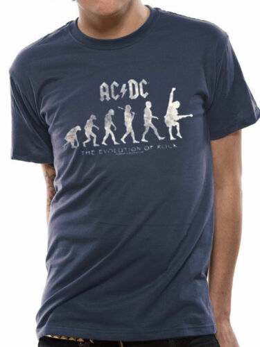 AC//DC T Shirt Mens Blue EVOLUTION OF ROCK Officially Licensed All Sizes S-XXL