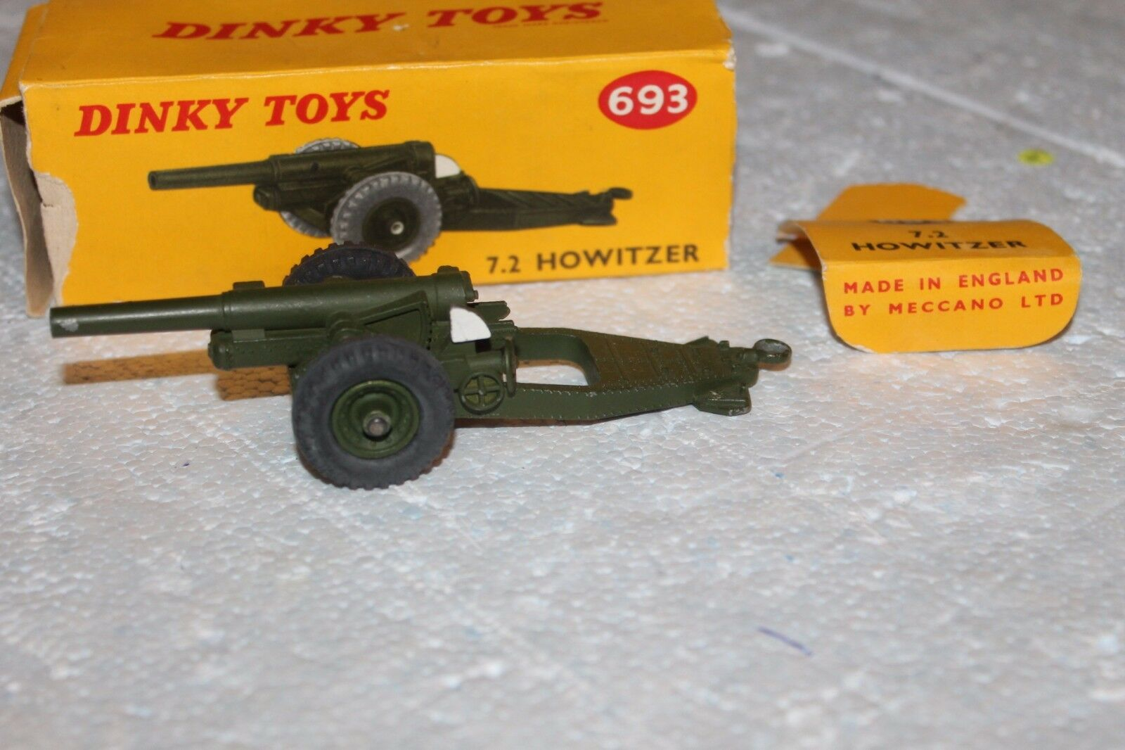 MILITARY DINKY by MECCANO      693 693 693      7.2 HOWITZER GUN   WITH ORIGIN BOX 7c1ef7