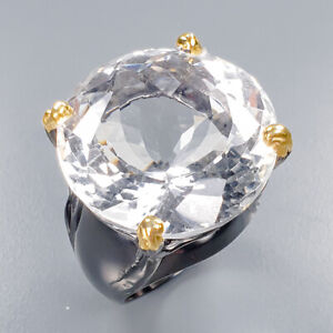 Quartz-Ring-Silver-925-Sterling-IF-AAA-Gem-25-mm-45ct-Size-9-R136847
