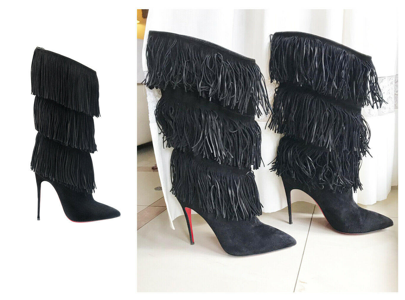 Christian Louboutin Louboutin Louboutin TINAFRANGE Fringe Boots in Black Suede 40 (6 7) Forever Tina f241f8