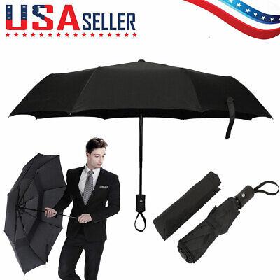Auto Open//Close Compact Umbrella,Red Black Cycle Automatic Folding Travel Umbrella Ergonomic Non-Slip Handle