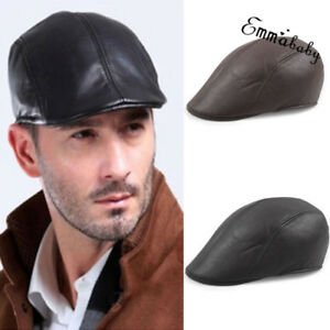 Vintage Mens Leather Flat Ivy Caps Newsboy Gatsby Bonnet Cabbie ... 53b2af8ccf82