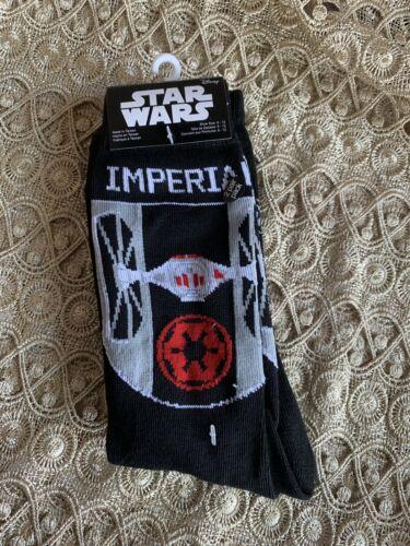 "Disney Star Wars 2 Pair Crew Socks ADULT Shoe Size 6-12 /""Tie Fighter/"" Multicolor"