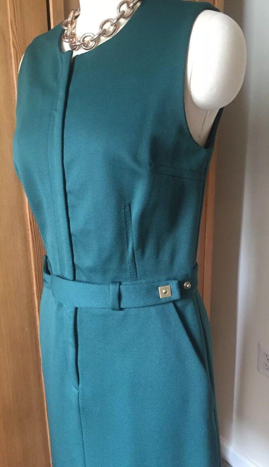 1779ecdb5 Diane Von Furstenberg Dark Pine Green Zipper Belted Tailored Dress Size 10