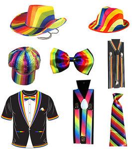 ... Unisex-Adulto-ARCOBALENO-Clown-BRETELLE-Cravatta-Cappello-da- c7dc446b5e1e