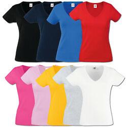 Fruit of the Loom Damen T-Shirt V-Neck Valueweight V-Ausschnitt 613980 XS – XXL