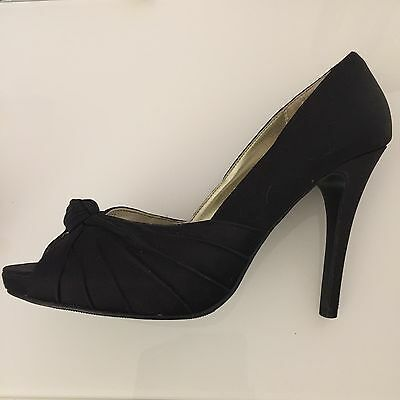 Zapatos señoras talla 5 negro nuevo aspecto Tacones Peep Toe función Frontal Satinado