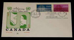 Vintage Cover, CANADA FDC,1970, OTTAWA, ON, 25th Anniversary Of United Nations