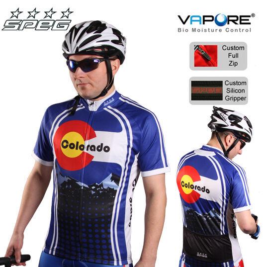 SPEG Coloreeado Mens Short Sleeve Cycling Jersey Full Zipper 100% Vapore