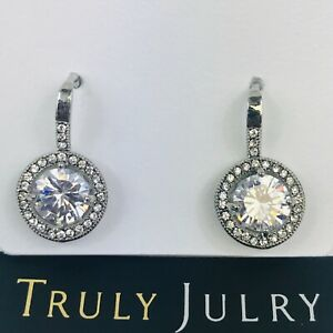 UK-Ladies-Luxury-Designer-Silver-Circle-Diamante-Drop-Earrings-Jewellery