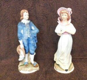Vintage-Hand-Painted-Lefton-Figurines-Pinkie-Blue-Boy-Limited-Edition-KW387