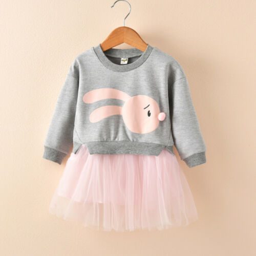 Kid Baby Girl Cartoon Bunny Winter Fall Sweatshirt Princess Tulle Dress Clothes