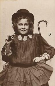 VINTAGE REAL PHOTO of YOUNG GIRL SMOKING PIPE in BOWLER HAT & UMBRELLA POSTCARD