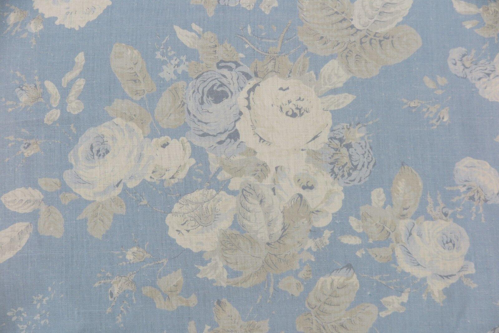 RALPH LAUREN CURTAIN FABRIC Tallulah Floral MIST LIGHT Blau 100% 100% 100% LINEN 3.3 METRE b65e34