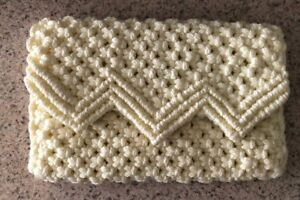 Hand-Crafted-Crochet-Beige-Clutch-Purse-Wallet-Knitted-Zig-Zag-One-Of-A-Kind