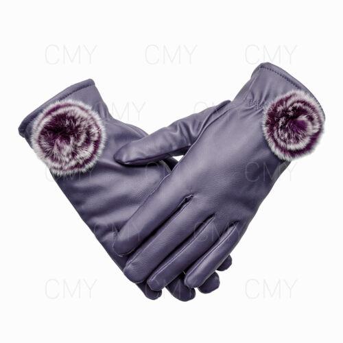 Señoras para mujer de moda de invierno Guantes de pantalla táctil de cuero suave conducción suave UK