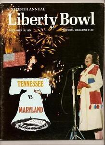 1974 Liberty Bowl Game Program Tennessee Maryland