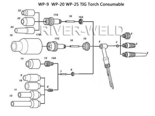 WP-20P SR-20P TIG Welding Torch Head Body Pencil 200Amp Water-Cooled