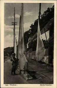 Meissen-Meissen-Sachsen-AK-1930-Altstadt-Fischerhaeuser-Fischer-Netze-Wohnhaeuser