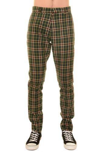 Men/'s anni/'60 vintage con MOD A Quadretti Verde Tartan Pantaloni Slim Skinny RACCORDO