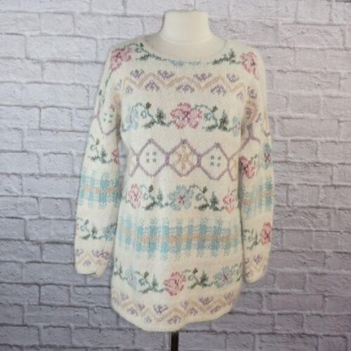 Vintage Handknitted Multicolored Floral Sweater by Express Tricot