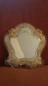 Image Is Loading ANTIQUE ITALIAN VENETIAN GLASS VANITY MIRROR Art Glass