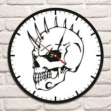 Skull B & W design vinyl record wall clock home art shop office playroom club 1