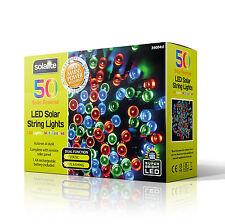 50 Led Multi Coloured String Lights Solar Powered Fairy Lights Garden Party Xmas