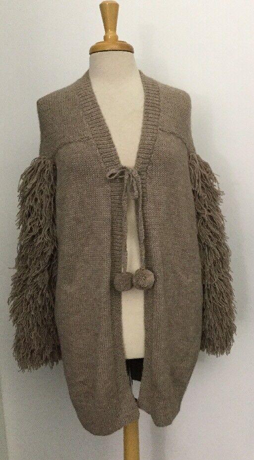 NEW Figue Fringe Trim Shaggy ALPACA Cardigan Sweater One Size XS S M L