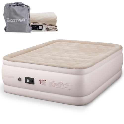 Queen Size Luxury Quilt Top Raised Air Mattress Elevated Airbed Built-in Pump