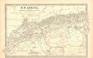 1880 ANTIQUE MAP NORTH WEST AFRICA MOROCCO ALGERIA TUNIS eBay