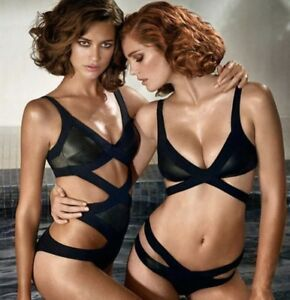Image is loading Agent-Provocateur-Mazzy-Black-Wet-looking-Bikini-Set- e37012a31