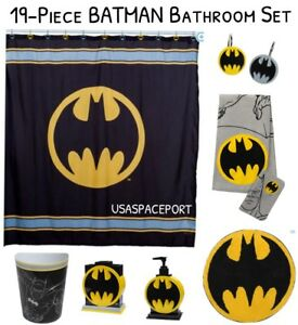 19pc Complete Batman Bathroom Set Shower Curtain Hooks Rug Towel