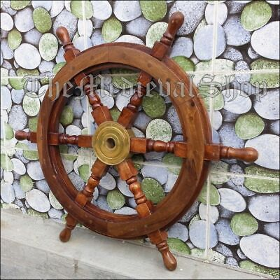 """24/"""" Nautical Antique Brass Ring Wooden Ship Steering Wheel Vintage Wall Decor"""