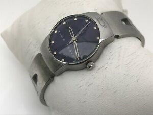 Time-Design-Zirconium-Watch-Silver-Tone-Blue-Face-Analog-Ladies-Watch-Mid-Size