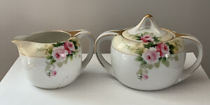 Antique Nippon Hand Painted Pink Roses with Gold Trim Sugar and Creamer