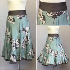 Monsoon Ladies Blue Brown Silk Floral 20s/50s Retro Kick flare Skirt Uk 12
